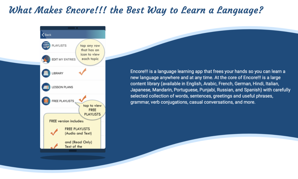 how to learn a foreign language with Encore app