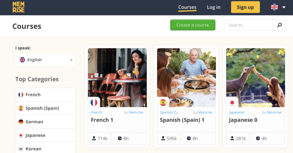 Memrise website to learn languages for free