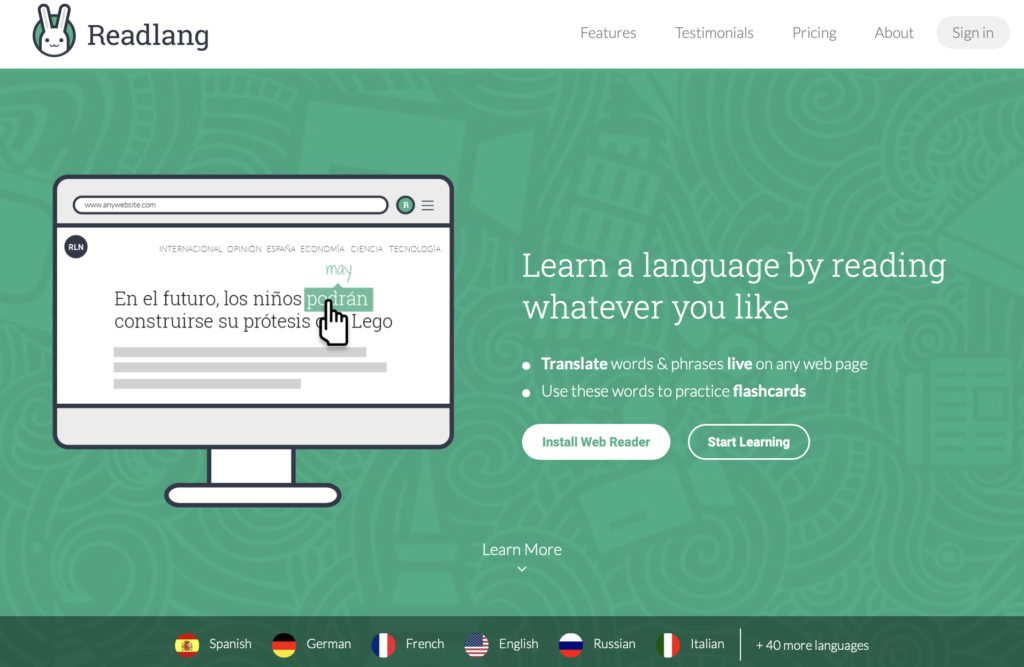 Readlang language learning by reading