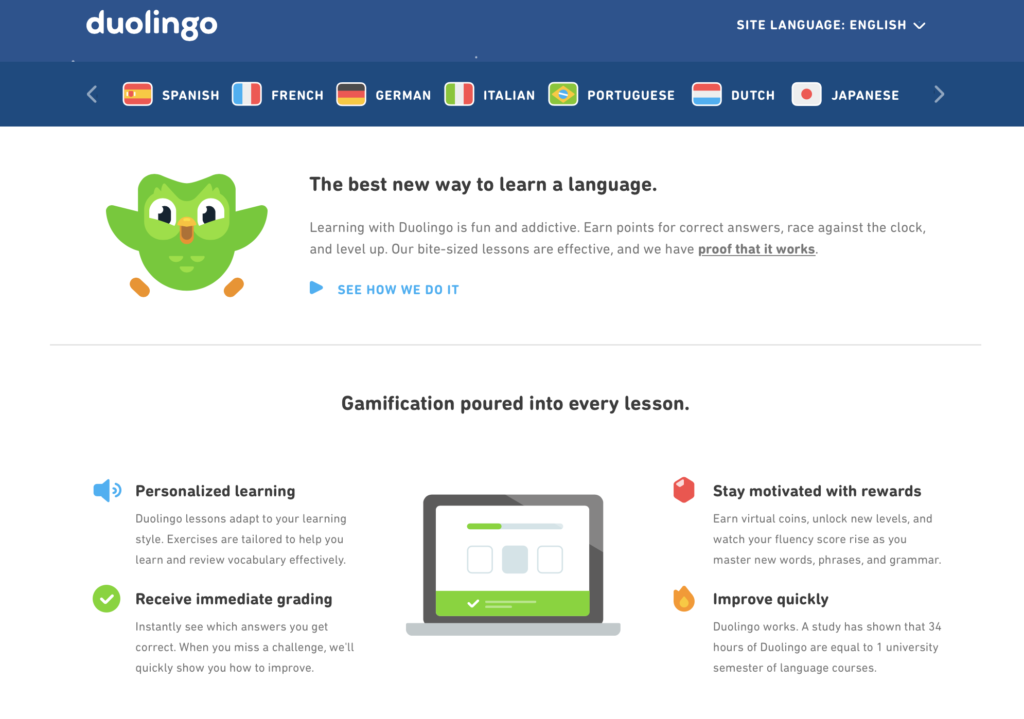 Duolingo offers paid content to learn