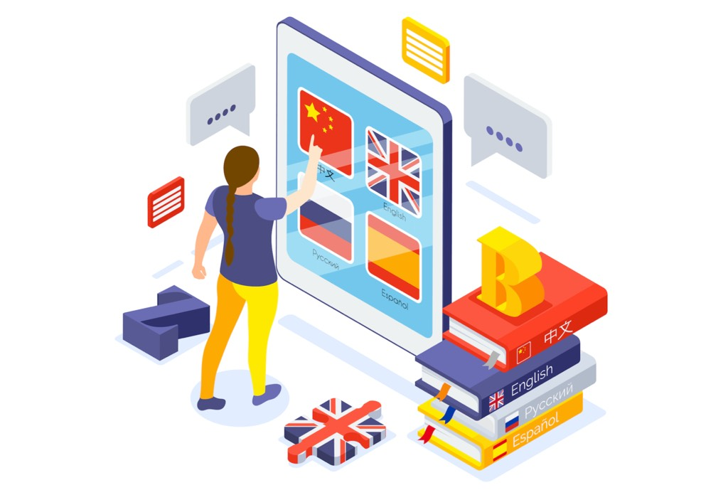 Intensive language schools and apps for learning a language